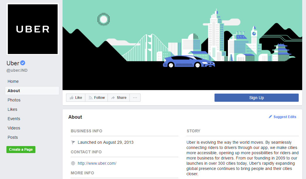 Uber FB page